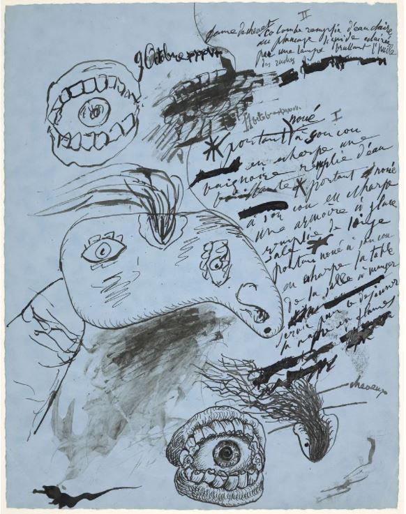 « Etudes : tête de femme et poèmes en français (9 et 11 octobre 1936) », Pablo Picasso• Crédits : © Succession Picasso 2020
